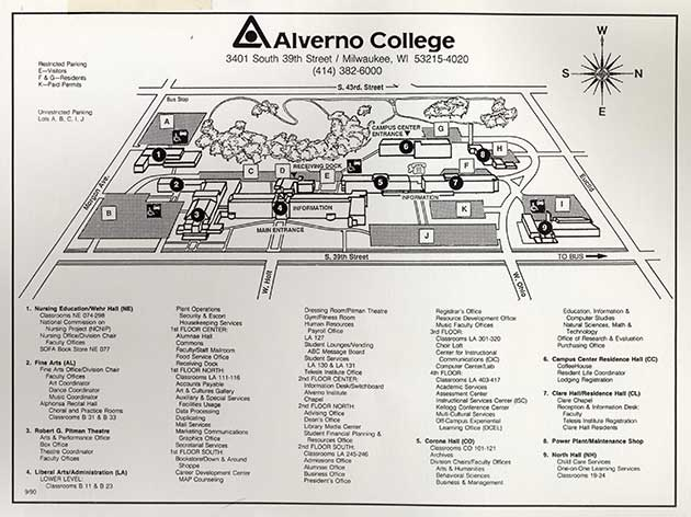 This is a 1990 Alverno campus map. A major change depicted was the renaming of the Alverno Elementary School Building as North Hall.