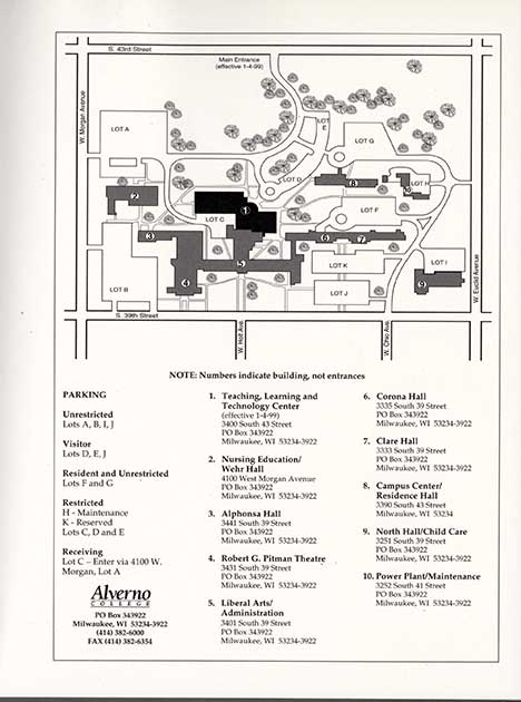 Map from 1998 which includes the Sister Joel Read Center which was then under construction.