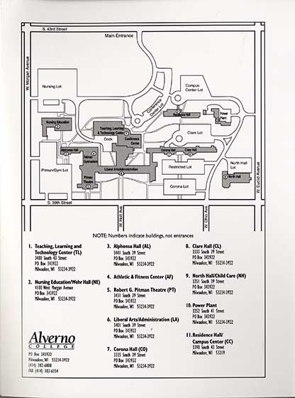 This is a campus map from 2004 that includes the completed Teaching, Learning and Technology Center, now known as the Sister Joel Read Center.n