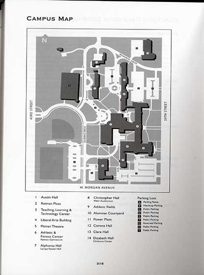 This is a map from 2006 which reflects all the changes the occurred as a result of the campus facelift including the addition of Reiman Plaza, the parking stucture, and the athletic fields along with several building name changes: Christopher Hall, Elizabeth Hall, and Austin Hall.