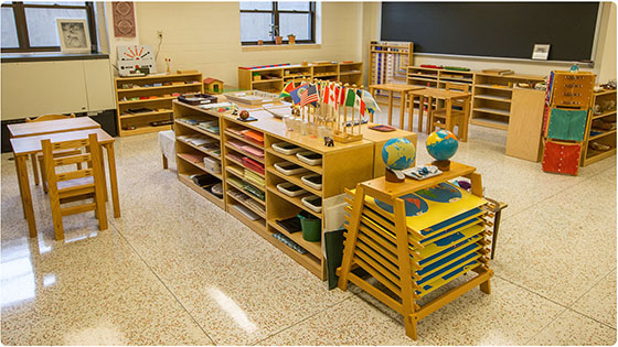 This is a color photo of a new Montessori classroom in the basement of Clare Hall