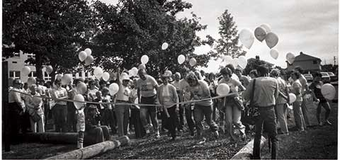 This is a photo of a crwd at the ribbon cutting for the new exercise/nature trail held on September 15, 1978.