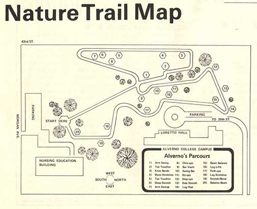 "This ios a map of the new Parcours Nature Trail published as part of the September 1978 ""Alpha"" article."