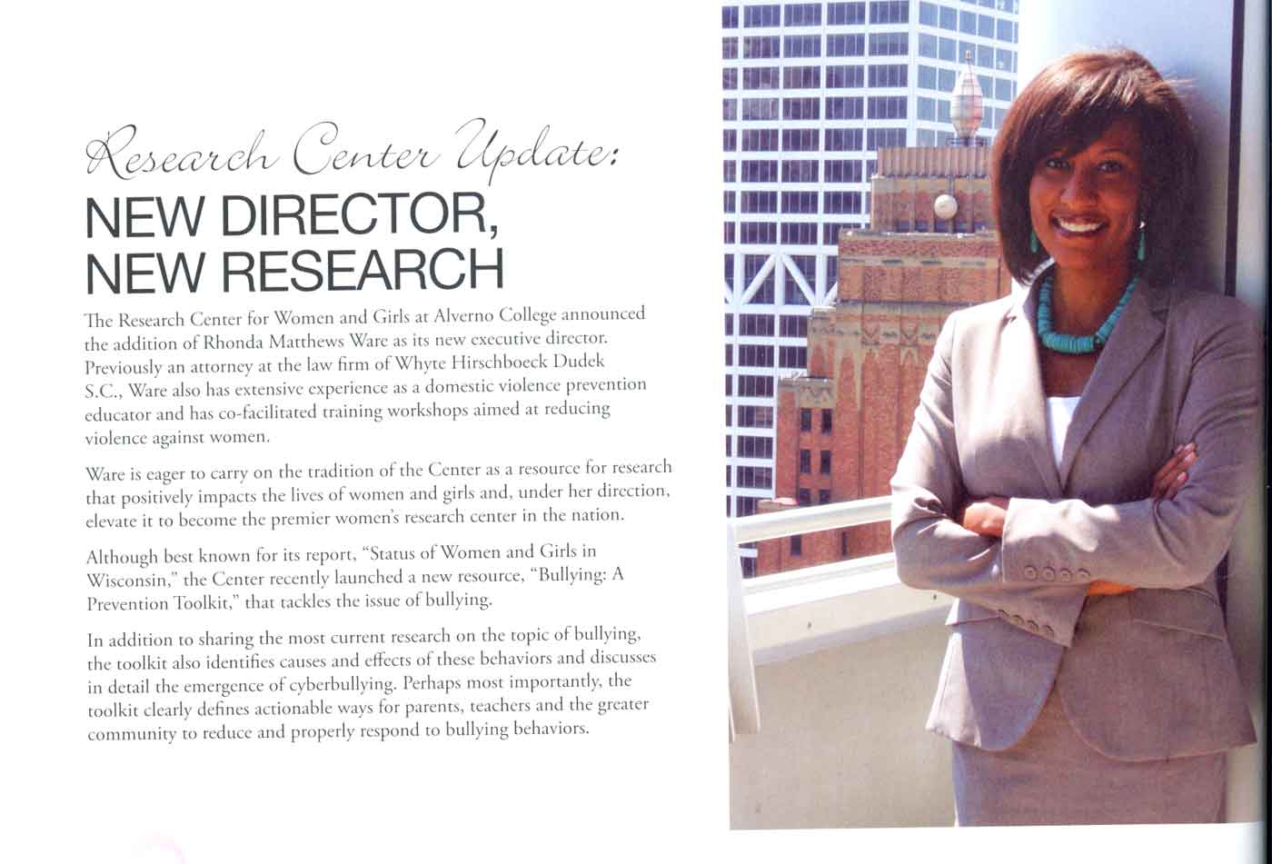 This is a photo and brief article from Alverno Magazine about Rhonda Matthews Ware's Fall 2011 appointment as Executive Director of Alverno's Reseach Center for Women and Girls