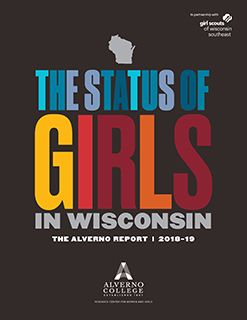 This is a color photo of the cover of the fourth edition of the Status of Girls in Wisconsin Report