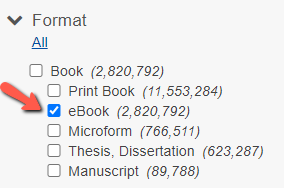 Red arrow pointing to eBook limiter