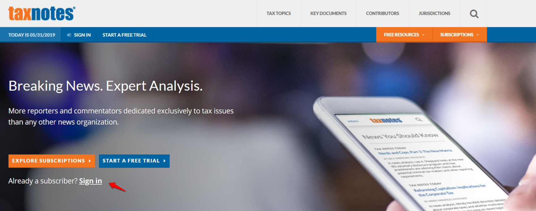 Tax Analysts home page