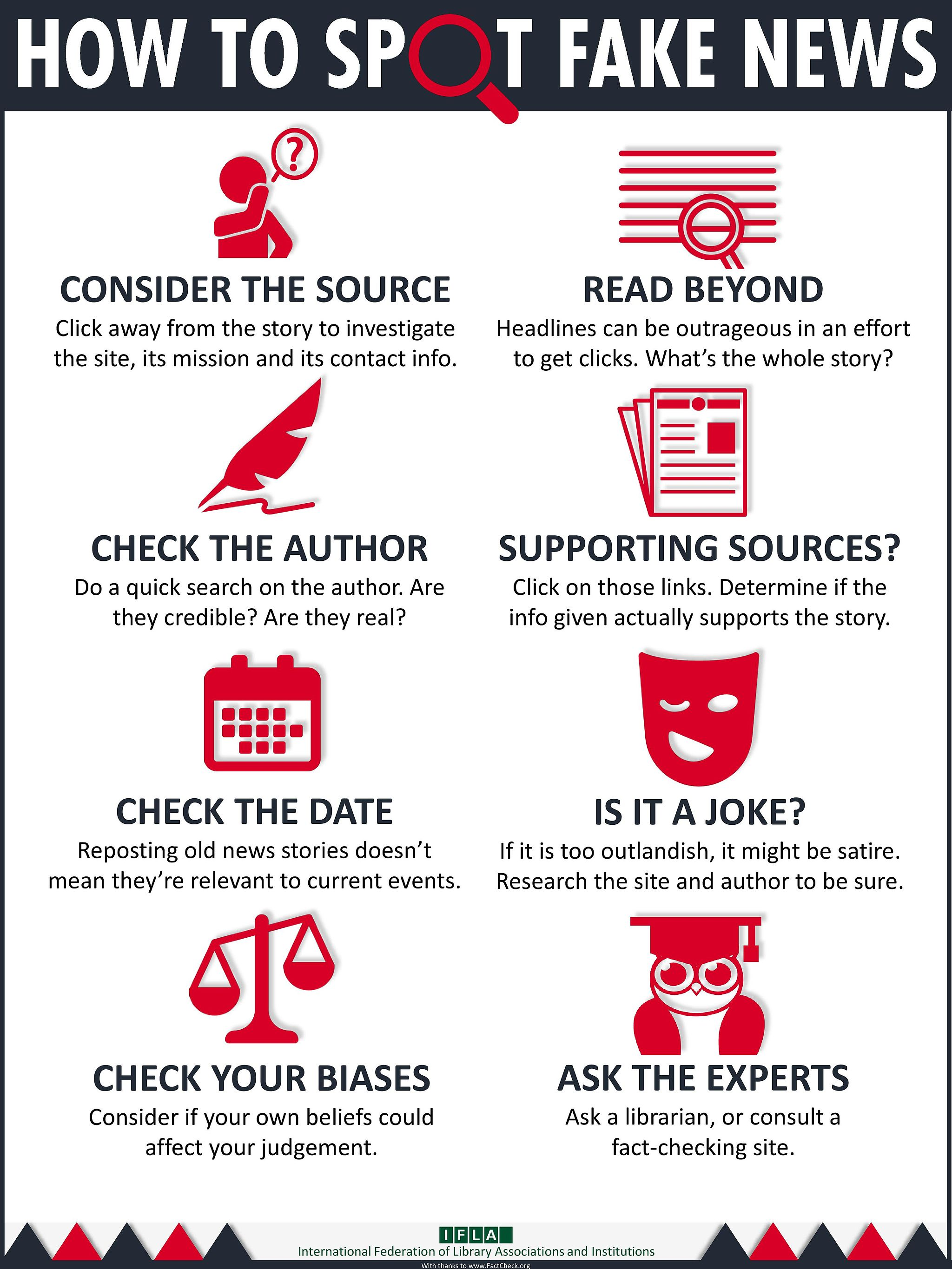 Infographic from IFLA on How To Spot Fake News: Consider the Source (Click away from the story to investigate the site, its mission and its contact info). Read Beyond (Headlines can be outrageous in an effort to get clicks. What's the whole story?). Check the Author (Do a quick search on the author. Are they credible? Are they real?). Supporting Sources? (Click on those links. Determine if the info given actually supports the story.). Check the Date (Reposting old news stories doesn't mean they're relevant to current events.). Is It a Joke? (If it's too outlandish, it might be satire. Research the site and author to be sure.). Check Your Biases (Consider if your own beliefs could affect your judgement.). Ask the Experts (Ask a librarian, or consult a fact-checking site.).