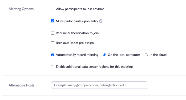 Zoom home page meeting options
