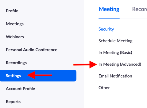 """Zoom home page with arrows pointing to """"Settings"""" and """"In Meeting (Advanced)"""""""