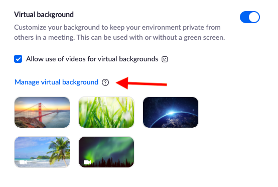 """Virtual background page with arrow pointing to """"Manage virtual background"""""""