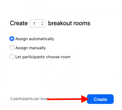 Zoom breakout rooms page
