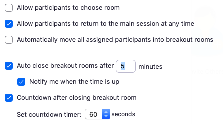 Zoom breakout rooms page with various settings
