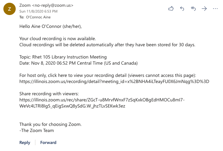 Zoom recorded meeting email