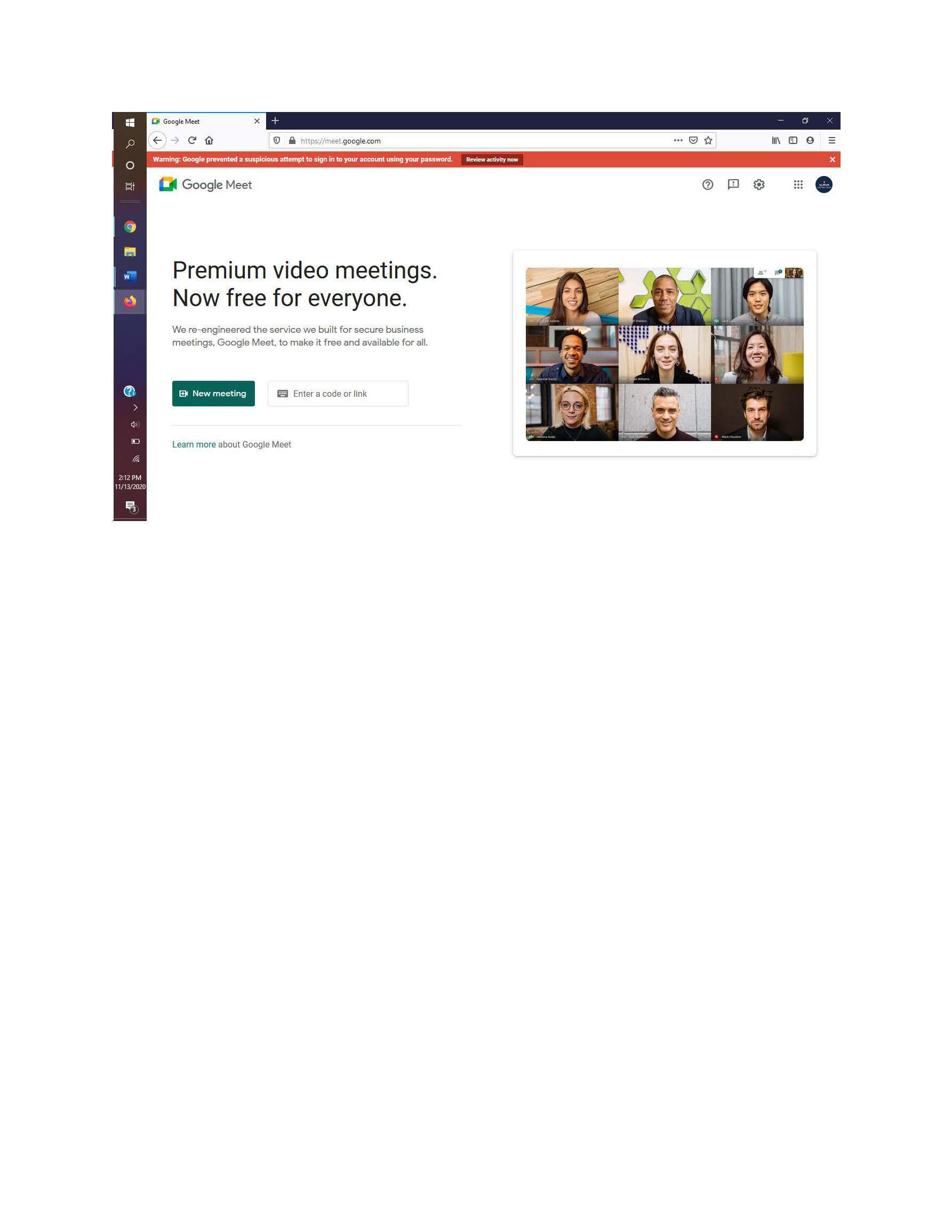 image of the Google Meet's website