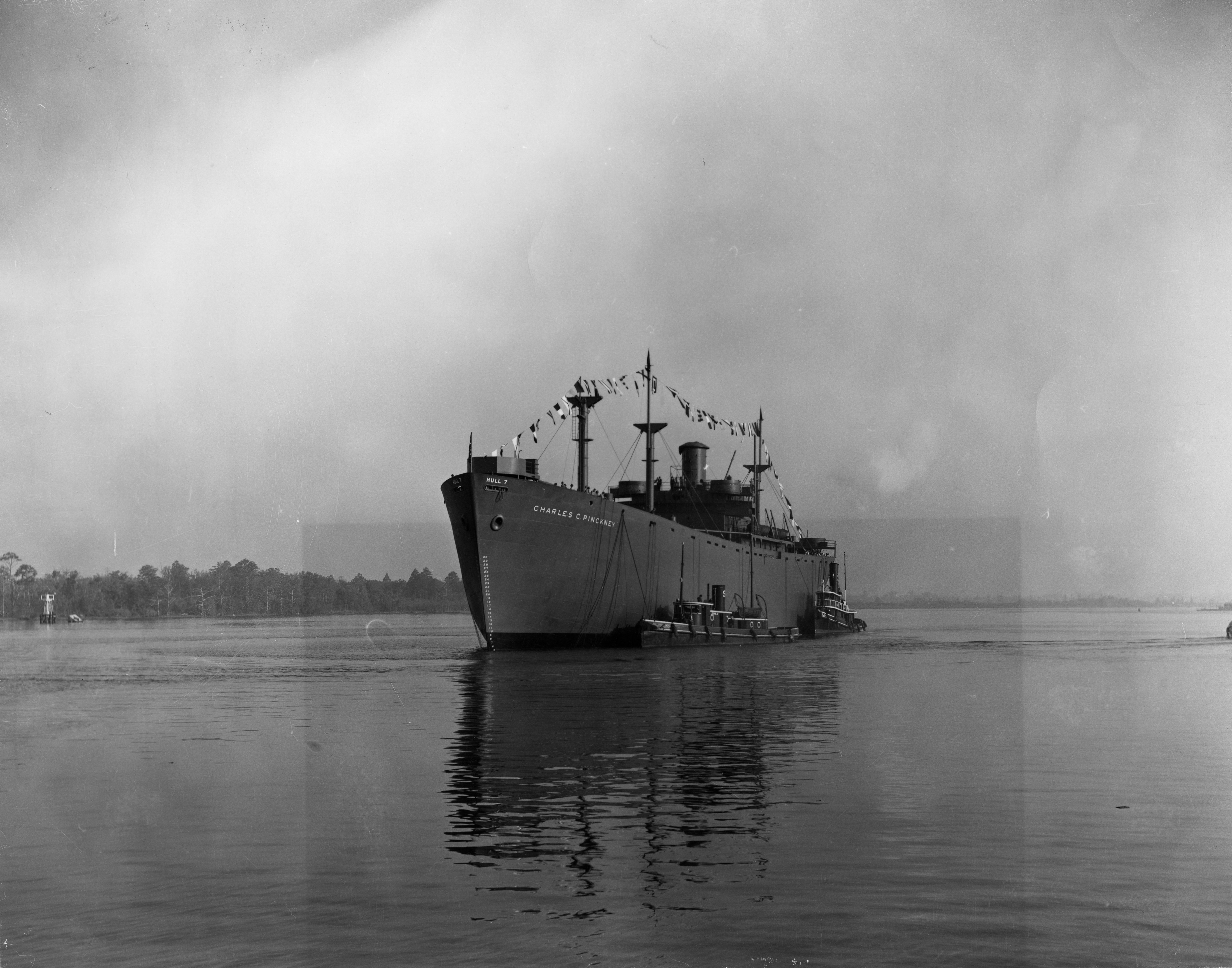 SS Charles C. Pinckney in the Cape Fear River guided by tugboats