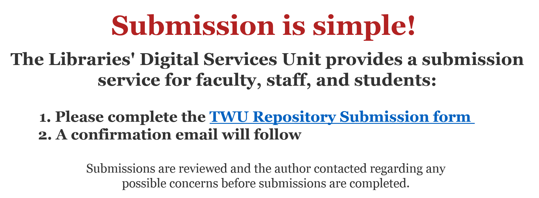 Submission is simple! The Libraries' Digital Services Unit provides a submission service for faculty, staff, and students. 1. Please complete the Repository Submission Form by clicking on this image. 2. A confirmation email will follow.  Submissions are reviewed and the author contacted regarding any possible concerns before submissions are completed.