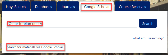 scholar tab from library snapshot