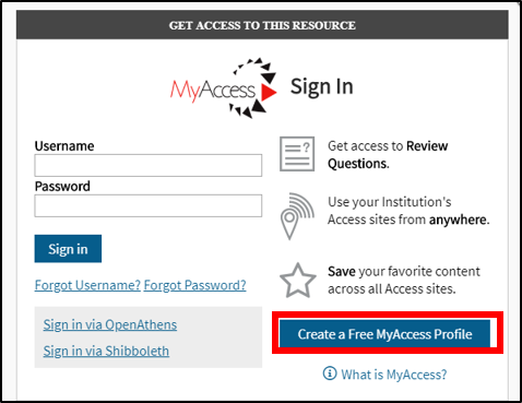 "If you don't have a MyAccess Profile, click ""Create a Free MyAccess Profile."""