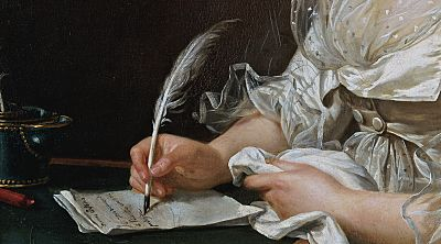 Detail of oil painting by by Adélaïde Labille-Guiard, circa 1787