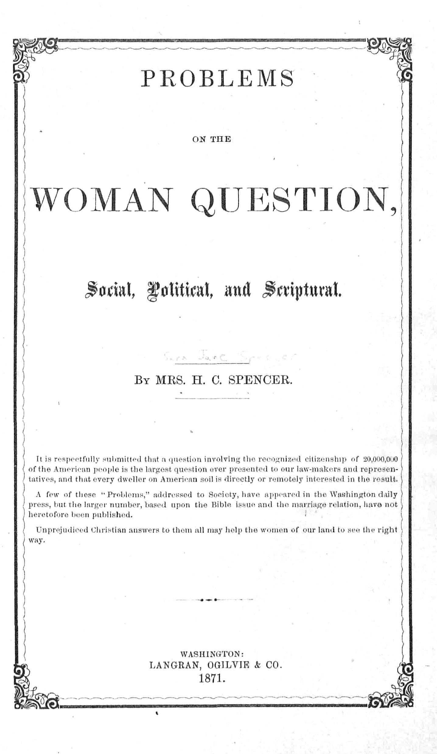 Book cover: Problems on the Woman Question
