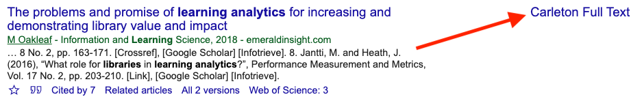 Carleton Full Text as shown in Google Scholar