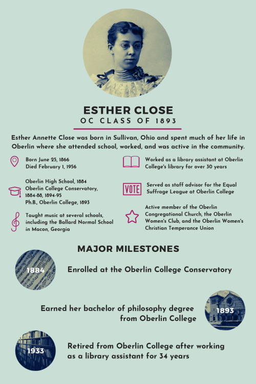Above photo:  Infographic depicting the information about Esther Close written in this post.  Esther Close, OC Class of 1893  Esther Annette Close was born in Sullivan, Ohio and spent much of her life in Oberlin where she attended school, worked, and was active in community.  Born June 25, 1866; Died February 1, 1956  Oberlin High School, 1884; Oberlin College Conservatory, 1884-88, 1894-95; Ph.B., Oberlin College, 1893  Worked as a library assistant at Oberlin College's library for over 30  Served as staff advisor for the Equal Suffrage League at Oberlin College  Active member of the Oberlin Congregational Church, the Oberlin Women's Club, and the Oberlin Women's Christian Temperance Union  MAJOR MILESTONES  1884- Enrolled at the Oberlin College Conservatory  1893- Earned her bachelor of philosophy degree from Oberlin College  1933- Retired from Oberlin College after working as a library assistant for 34 years