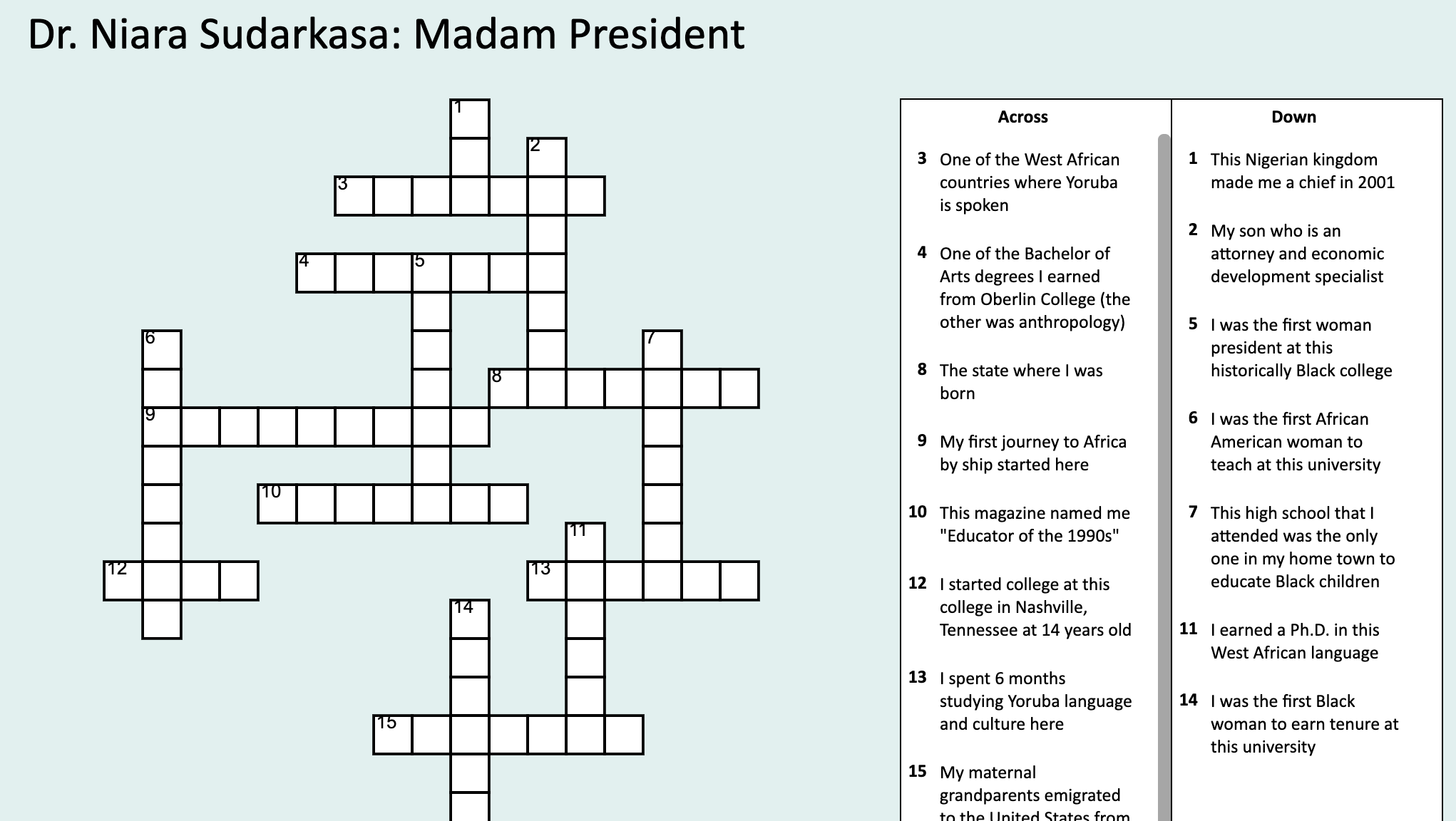 Image and link to a crossword puzzle about Dr. Niara Sudarkasa