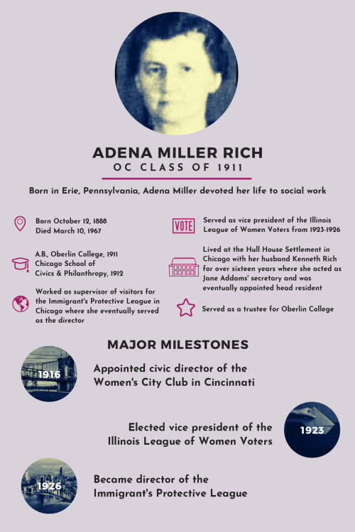 Above photo:  Infographic depicting the information about Adena Miller Rich written in this post.  Adena Miller Rich, OC Class of 1911  Born October 12, 1888; Died March 10, 1967  A.B., Oberlin College, 1911; Chicago School of Civics and Philanthropy, 1912  Worked as supervisor of visitors for the Immigrant's Protective League in Chicago where she eventually served as director  Served as vice president of the Illinois League of Women Voters from 1923-1926  Lived at the Hull House Settlement in Chicago with her husband Kenneth Rich for over sixteen years where she acted as Jane Addams' secretary and was eventually appointed head resident  Served as a trustee for Oberlin College  MAJOR MILESTONES  1916- Appointed civic director of the Women's City Club in Cincinnati  1923- Elected vice president of the Illinois League of Women Voters  1926- Became director of the Immigrant's Protective League