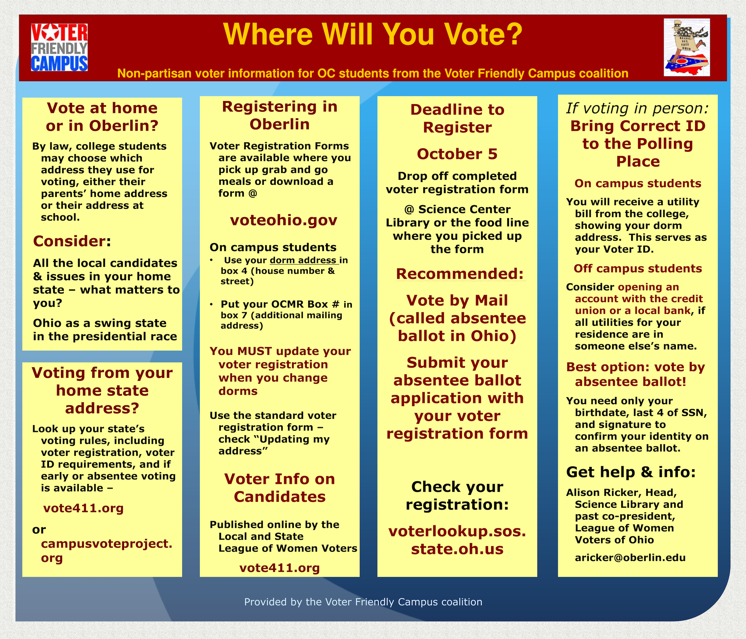 Info about how and where students can vote in Oberlin