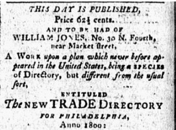 Advertisement for The New Trade Directory in The Gazette of the United States, January 18, 1800