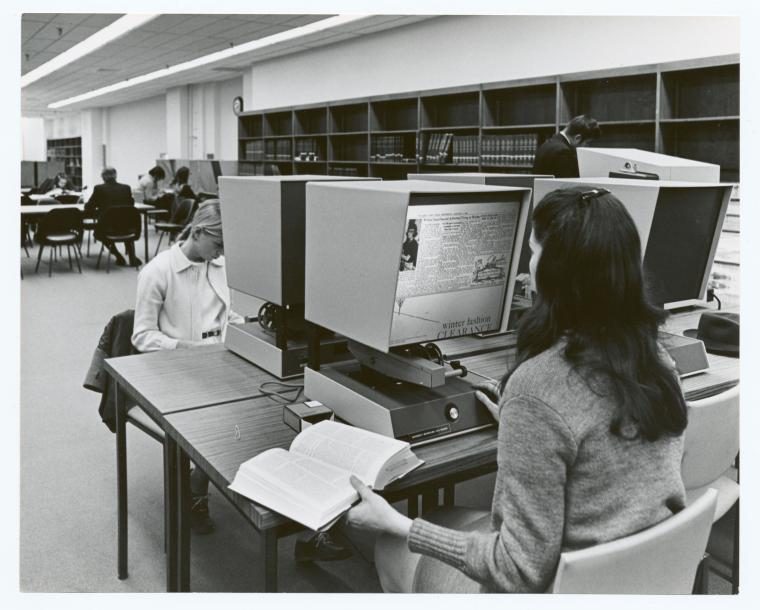 NYPL researchers using microfilm viewers