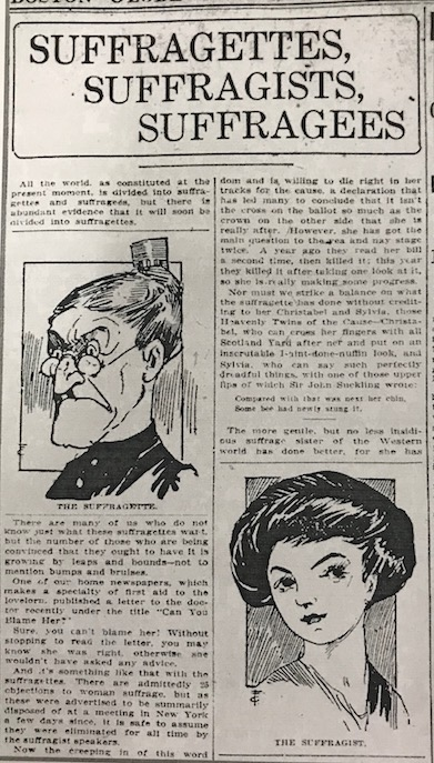 Boston Globe article, Suffragettes, Suffragists, Suffragees