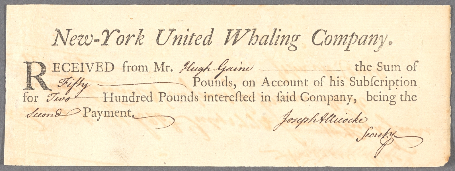 New-York United Whaling Company receipt to Hugh Gaine