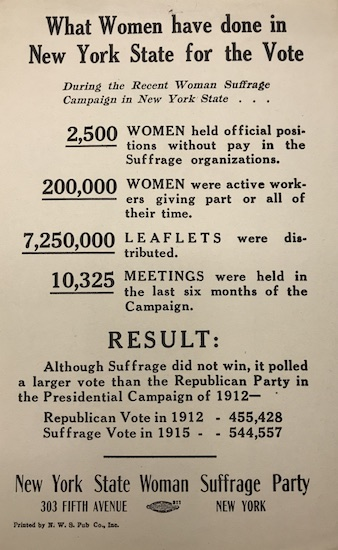 Flyer, What Women Have Done in New York State for the Vote