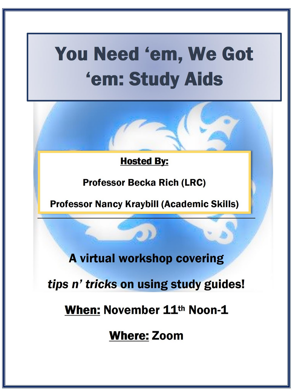 Flier for Study Aids event