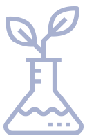 erlenmeyer flask icon with plant sprouting out of top