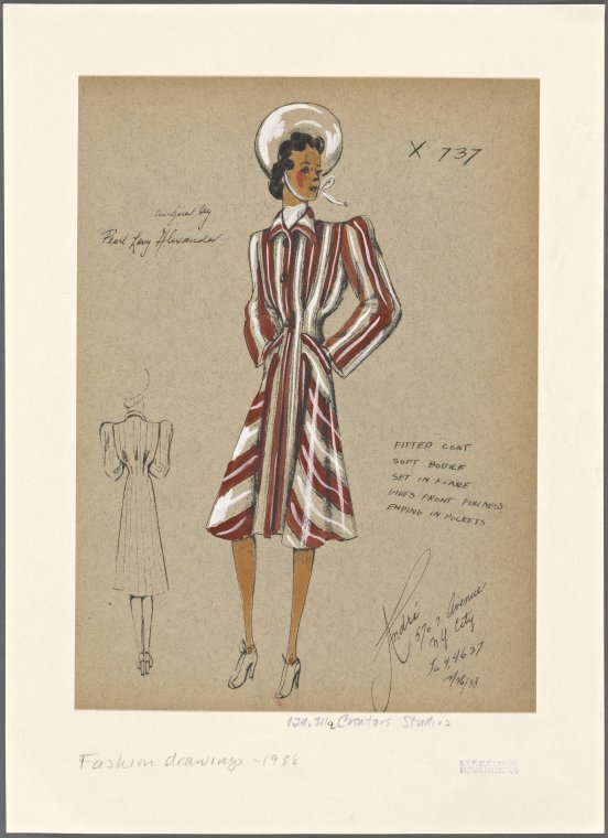 Fitted Coat. Andre Studios Fashion Drawings.