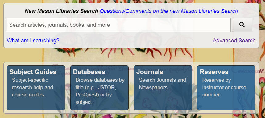 image of search box on library home page
