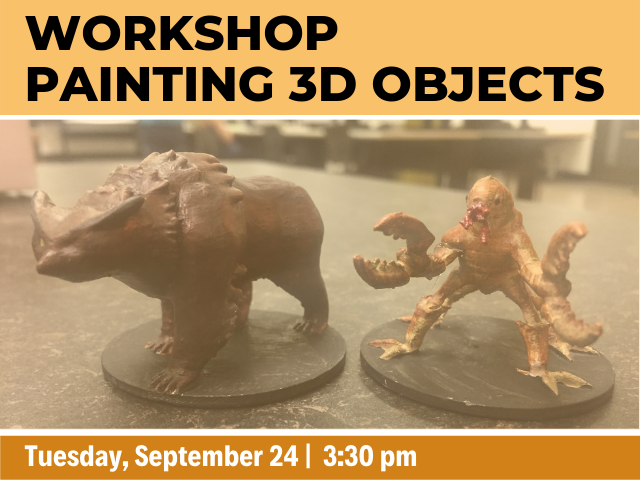 Two figurines of fantastical type creatures with the works Workshop: painting 3D Objects