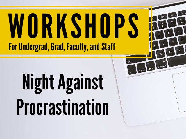 open laptop with title of workshop, Night Against Procrastination