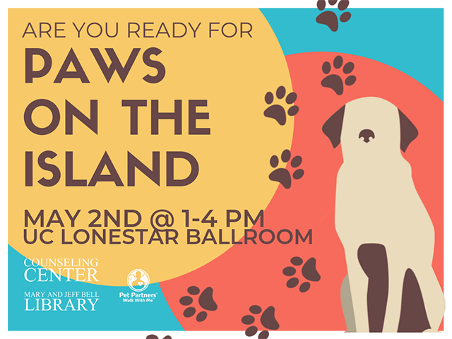 "Yellow, red, and blue background with drawing of dog. Text reads, ""Are You Ready for Paws on the Island"""