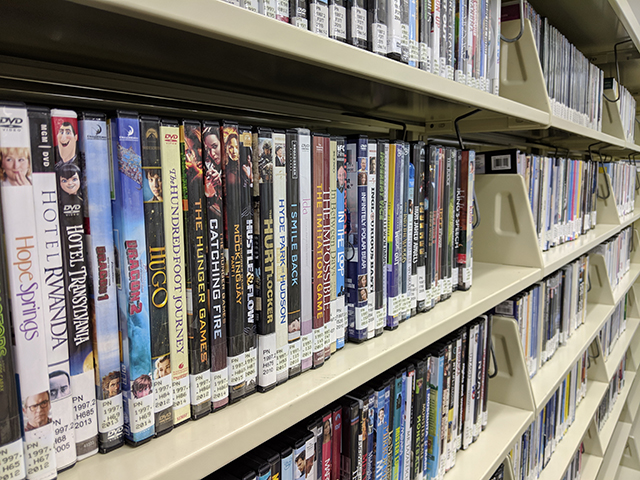 Row of shelves with DVDs