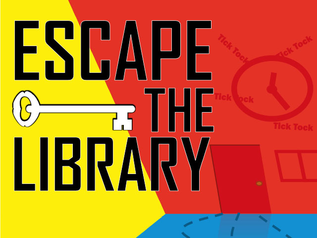 Escape the Library text on yellow, red, and blue background with image of ticking clock and closed door.