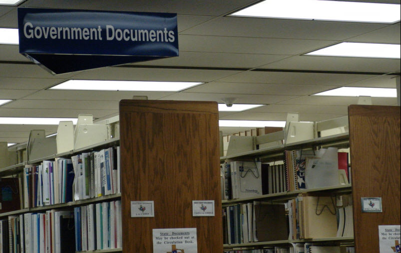 Image of Government Documents sign in Bell Library