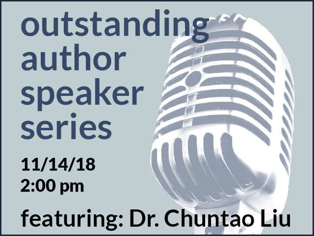 Outstanding author speaker series on blue background with old-timey looking microphone