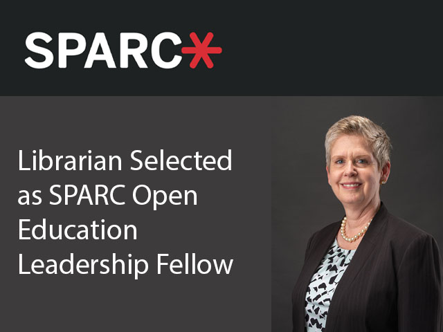 SPARC logo with photograph of libraria, Lisa Louis