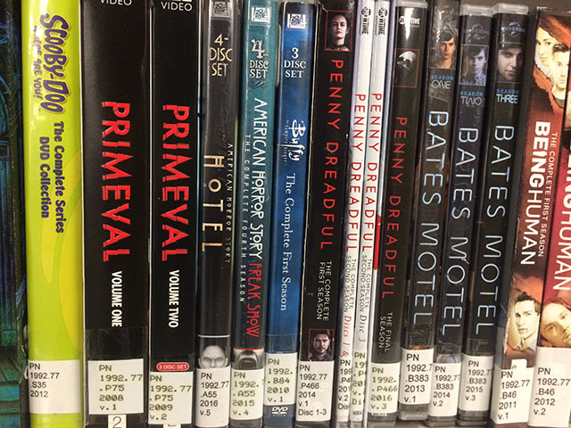 Close up image of row of horror themed DVDs on a display shelf