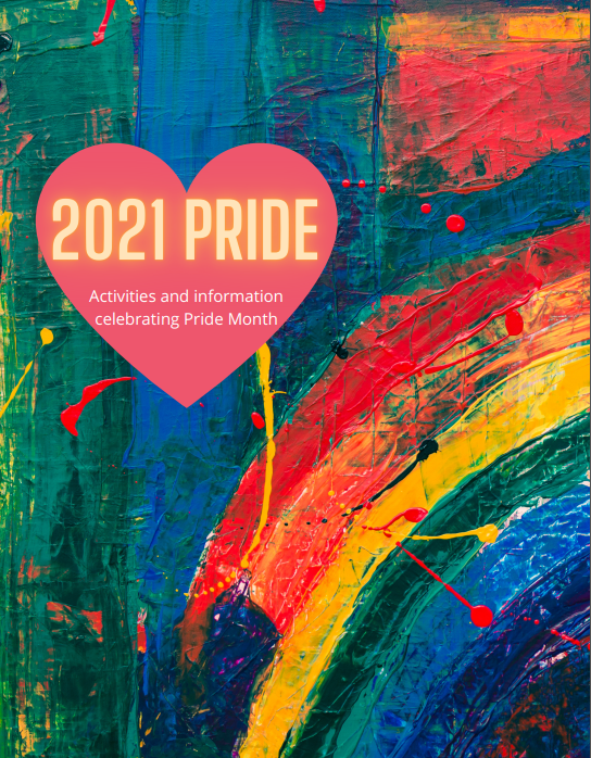 Image of Pride 2021 on cover of workbook with painted background.