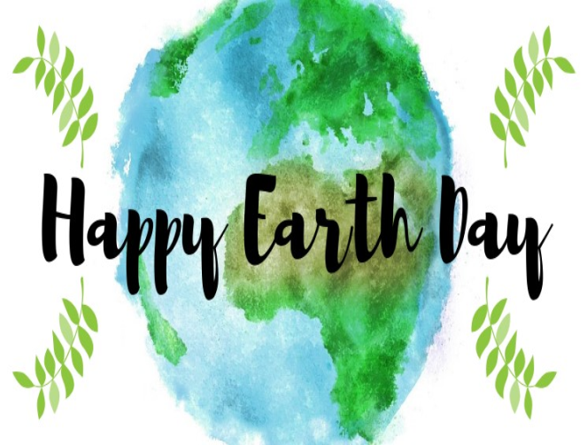 Watercolor painting of the planet Earth, with text reading Happy Earth Day
